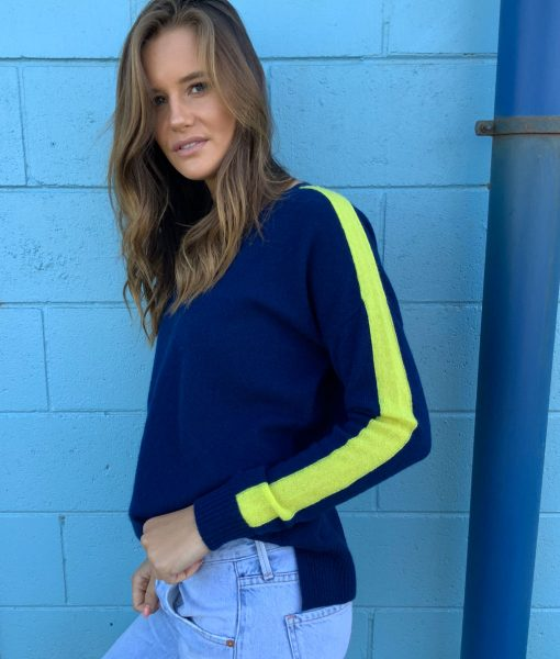 navy & chartreuse sweater