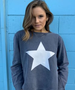 Charcoal white star sweater