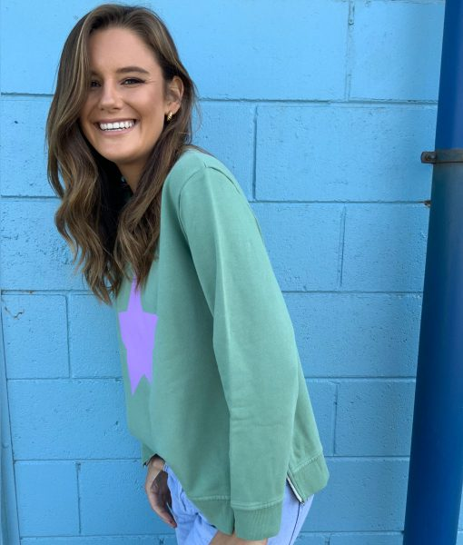 Khaki & Lilac zip sweater