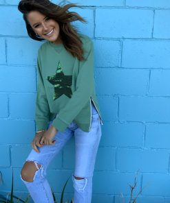 khaki sequin star sweater