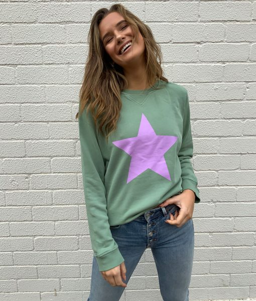 khaki sweater lilac star
