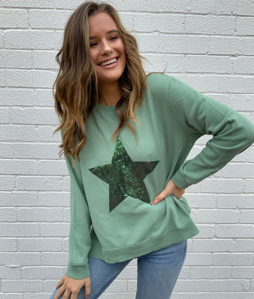 khaki sweater sequin star