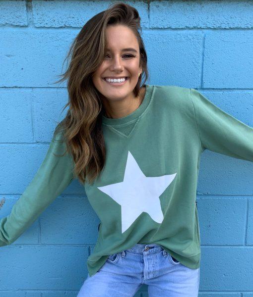 zip sweater khaki white star