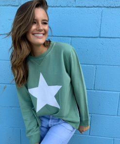 zip sweater khaki white star