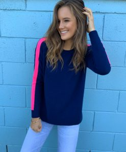 cashmere sweater navy stripe