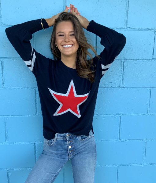Navy with red star jumper