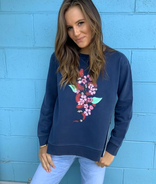 snake sweater navy