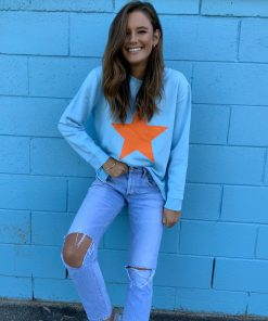 baby blue & orange star sweater