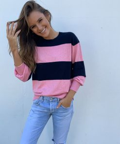 Pink and navy stripe sweater