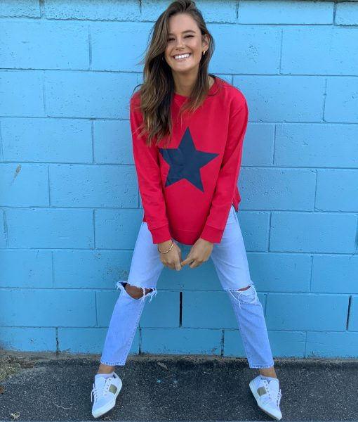zip sweater red with navy star