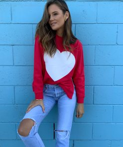 zip sweater red with white heart