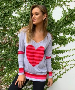 Stripe heart sweater