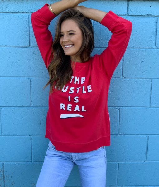 the hustle red sweater