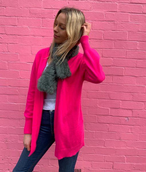 fluro pink cardigan