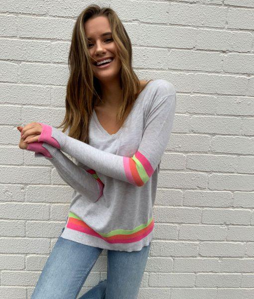 grey sweater rainbow