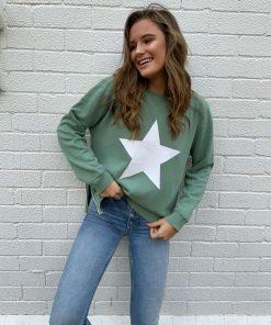 khaki sweater white star