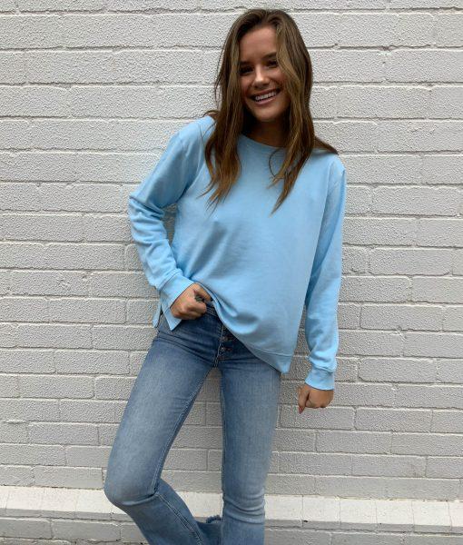 plain blue sweater