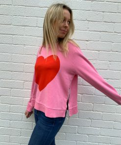 winter pink heart sweater
