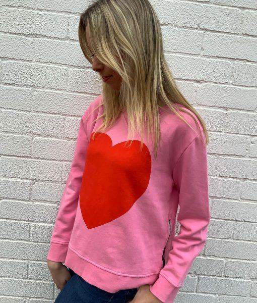 winter pink heart sweater