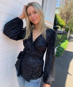 sequin wrap top black