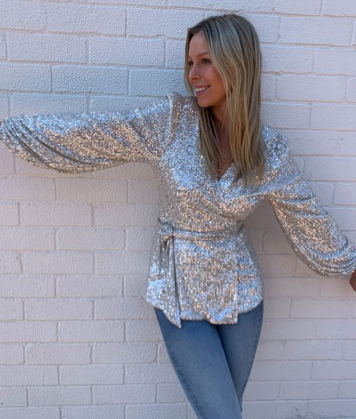 sequin wrap top champagne