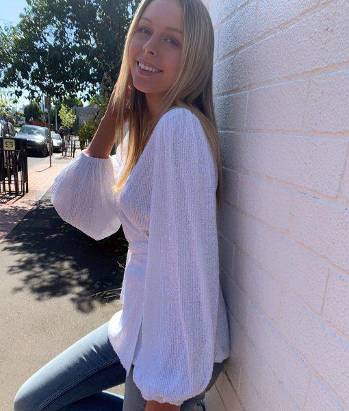 white sequin wrap top