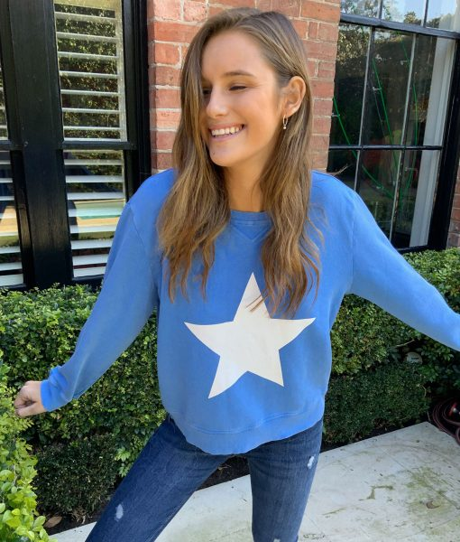 royal blue white star sweater