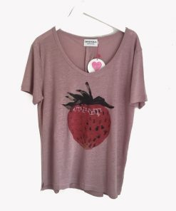 dusky pink teeshirt with strawberry