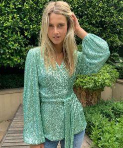 green sequin top