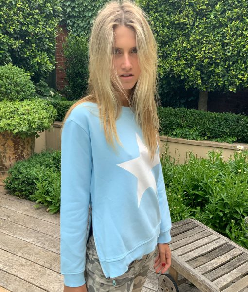baby blue white star sweater