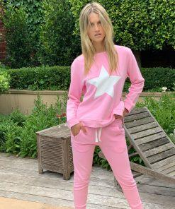 pink sweater white star