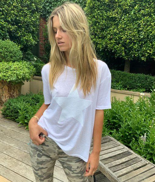linen white star tee shirt