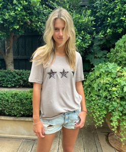 natural tee shirt with 3 stars