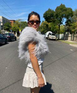 silver balero ostrich feather