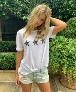 White 3 star tee shirt