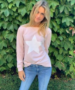 Blush sweater white star