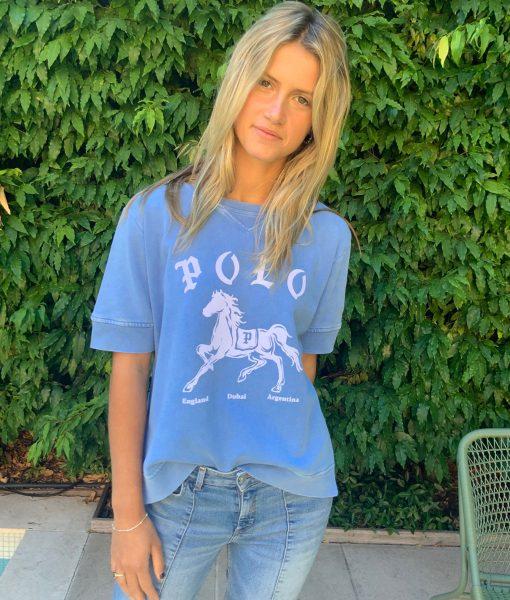 short sleeve polo blue sweater