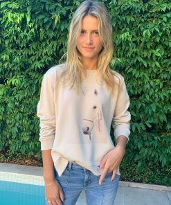 tan sweater horse print