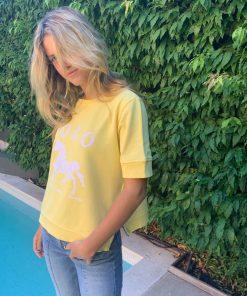yellow polo short sleeve sweater