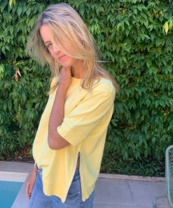 yellow sweater short sleeve