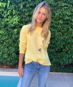 yellow sweater horse print