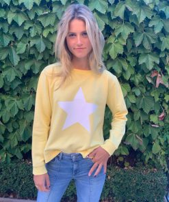 yellow sweater white star