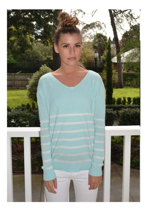 minty green with cream stripe angora sweater