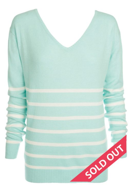 minty grean with cream stripe sweater