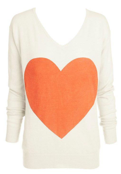 cream with coral heart angora sweater