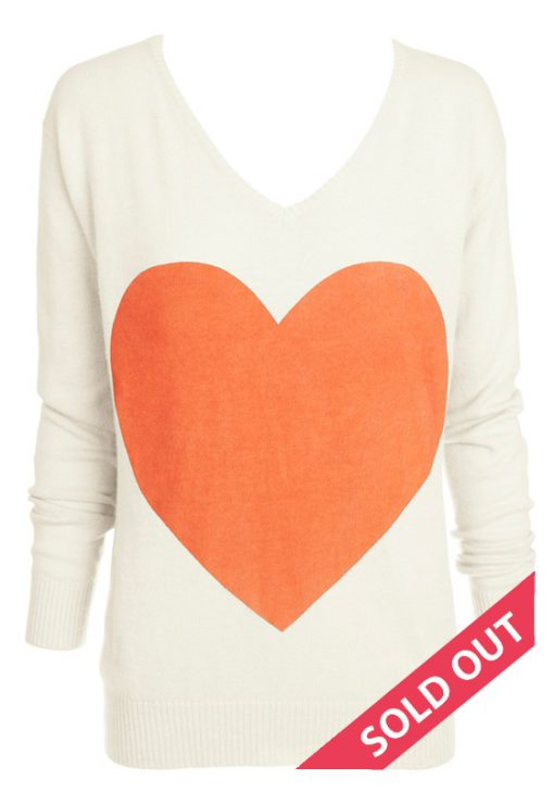 cream with coral heart