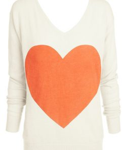cream with coral heart sweater