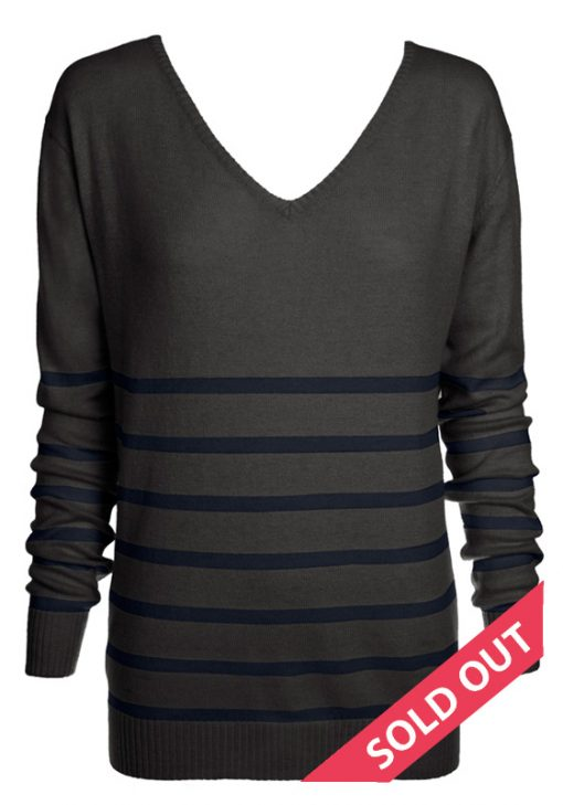 charcoal with navy stripe sweater