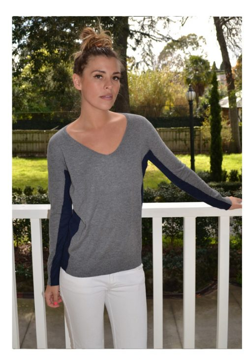 grey with navy contrast cashmere sweater