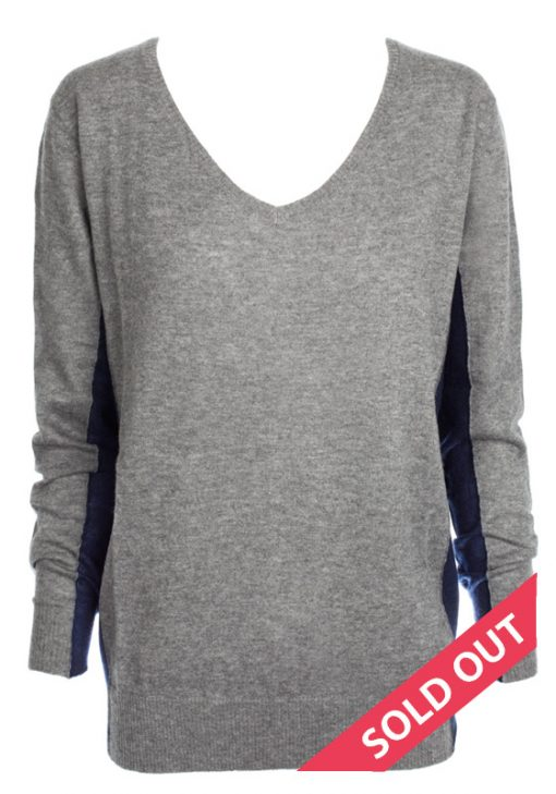 grey with navy contrast sweater